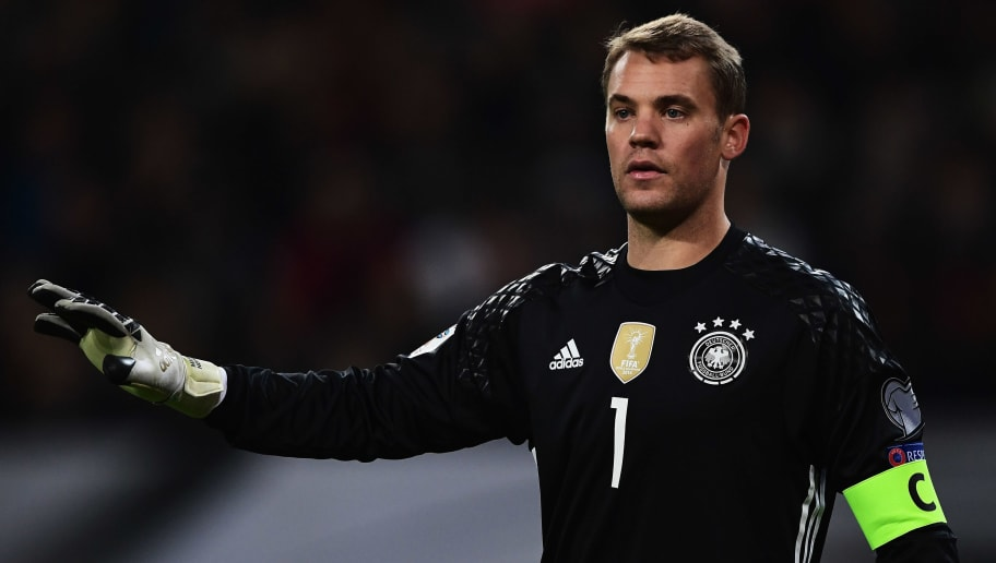 HAMBURG, GERMANY - OCTOBER 08:  Manuel Neuer of Germany reacts during the 2018 FIFA World Cup Qualifier match between Germany and Czech Republic at Volksparkstadion on October 8, 2016 in Hamburg, Germany.  (Photo by Stuart Franklin/Bongarts/Getty Images)