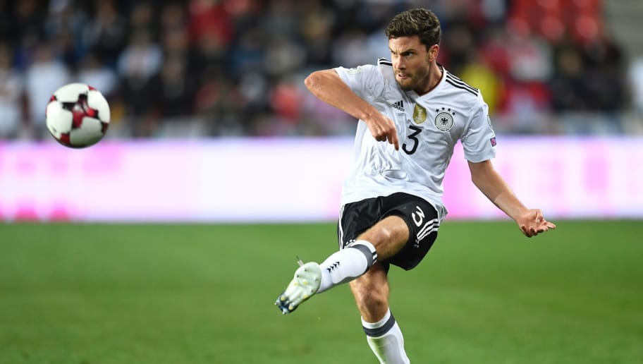 Germany's defender Jonas Hector plays the ball during the FIFA World Cup 2018 qualification football match between Czech Republic and Germany in Prague, Czech Republic, on September 1, 2017.  / AFP PHOTO / ROBERT MICHAEL        (Photo credit should read ROBERT MICHAEL/AFP/Getty Images)