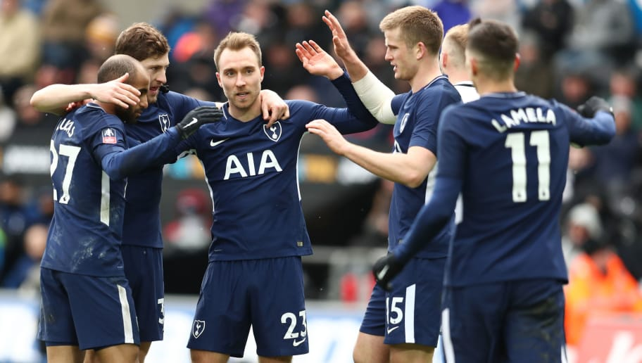 SWANSEA, WALES - MARCH 17: Christian Eriksen of Tottenham Hotspur celebrates after scoring his sides third goal with his team mates during The Emirates FA Cup Quarter Final match between Swansea City and Tottenham Hotspur at Liberty Stadium on March 17, 2018 in Swansea, Wales.  (Photo by Catherine Ivill/Getty Images)