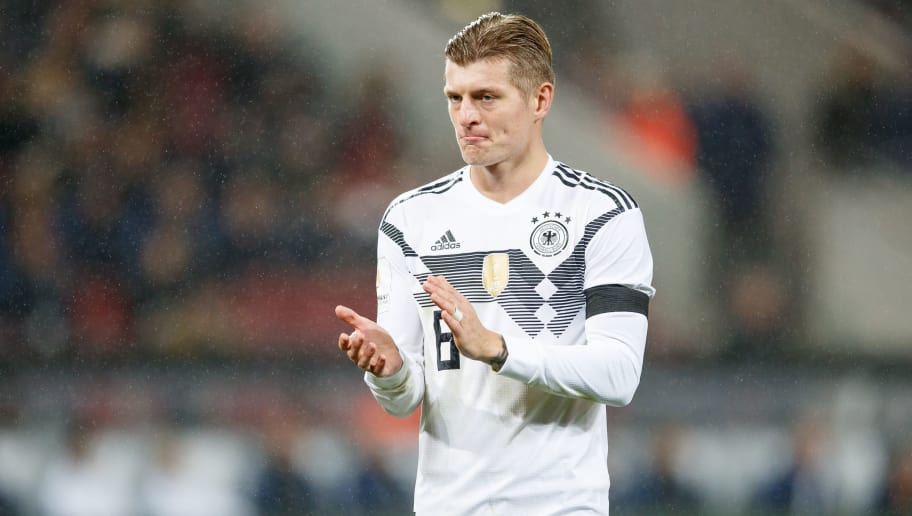 COLOGNE, GERMANY - NOVEMBER 14:  Toni Kroos of Germany reacts during the international friendly match between Germany and France at RheinEnergieStadion on November 14, 2017 in Cologne, Germany.  (Photo by Lars Baron/Bongarts/Getty Images)