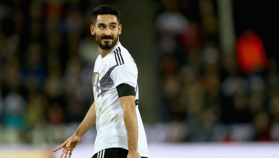 COLOGNE, GERMANY - NOVEMBER 14:  Ilkay Guendogan of Germany looks on during the international friendly match between Germany and France at RheinEnergieStadion on November 14, 2017 in Cologne, Germany.  (Photo by Alexander Hassenstein/Bongarts/Getty Images)