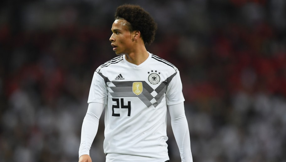 LONDON, ENGLAND - NOVEMBER 10:  Leroy Sane of Germany looks on during the International Friendly between England and Germany at Wembley Stadium on November 10, 2017 in London, England.  (Photo by Laurence Griffiths/Getty Images)