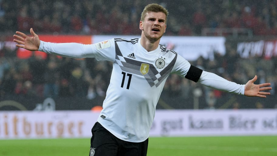 COLOGNE, GERMANY - NOVEMBER 14: Timo Werner of Germany celebrates during the International friendly match between Germany and France at RheinEnergieStadion on November 14, 2017 in Cologne, Germany. (Photo by Matthias Hangst/Bongarts/Getty Images)