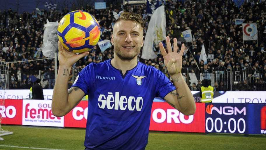 FERRARA, MILANO - JANUARY 06:  Ciro Immobile of SS Lazio celebrate for the four goals scored at the end of the game the serie A match between Spal and SS Lazio at Stadio Paolo Mazza on January 6, 2018 in Ferrara, Italy.  (Photo by Marco Rosi/Getty Images)