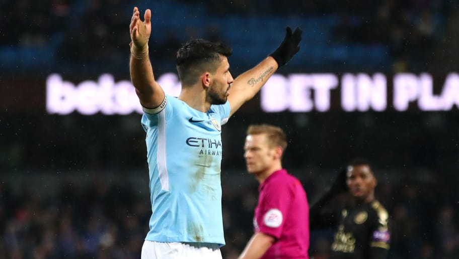 MANCHESTER, ENGLAND - FEBRUARY 10:  Sergio Aguero of Manchester City celebrates scoring his fourth goal, his side's fifth during the Premier League match between Manchester City and Leicester City at Etihad Stadium on February 10, 2018 in Manchester, England.  (Photo by Clive Brunskill/Getty Images)