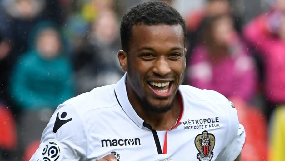 Nice's French forward Alassane Plea jubilate after scoring during the French L1 football match Guingamp against Nice March 11, 2018 at the Roudourou stadium in Guingamp, western France. / AFP PHOTO / Fred TANNEAU        (Photo credit should read FRED TANNEAU/AFP/Getty Images)