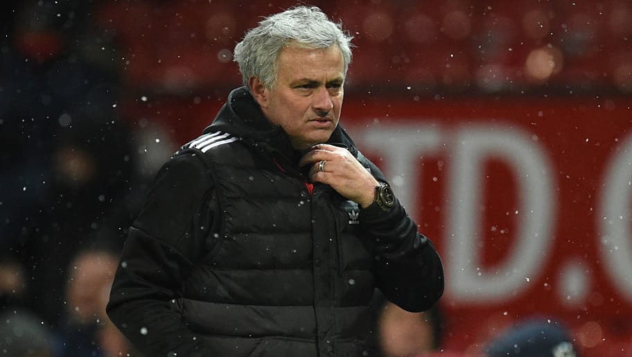 Manchester United's Portuguese manager Jose Mourinho reacts after the English FA Cup quarter-final football match between Manchester United and Brighton and Hove Albion at Old Trafford in Manchester, north west England, on March 17, 2018. / AFP PHOTO / Oli SCARFF / RESTRICTED TO EDITORIAL USE. No use with unauthorized audio, video, data, fixture lists, club/league logos or 'live' services. Online in-match use limited to 75 images, no video emulation. No use in betting, games or single club/league/player publications.  /         (Photo credit should read OLI SCARFF/AFP/Getty Images)