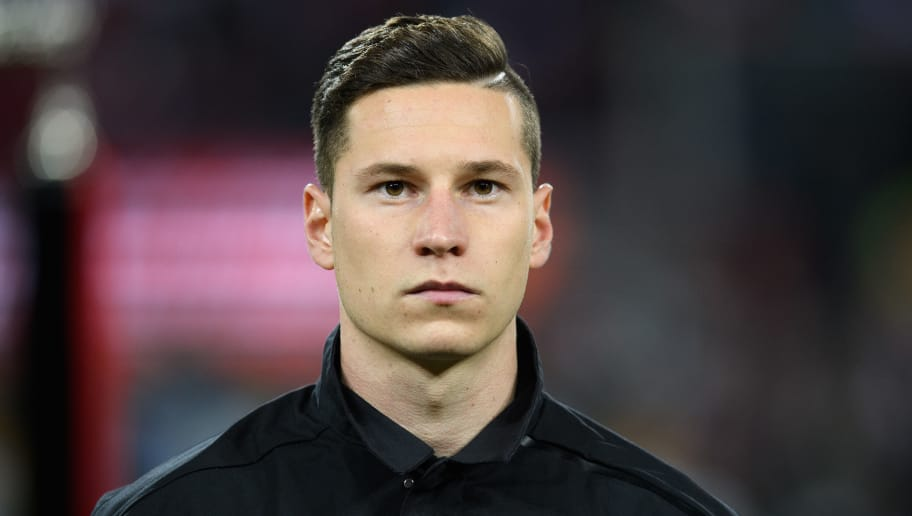 COLOGNE, GERMANY - NOVEMBER 14: Julian Draxler of Germany looks on during the National Anthems prior to the International friendly match between Germany and France at RheinEnergieStadion on November 14, 2017 in Cologne, Germany. (Photo by Matthias Hangst/Bongarts/Getty Images)
