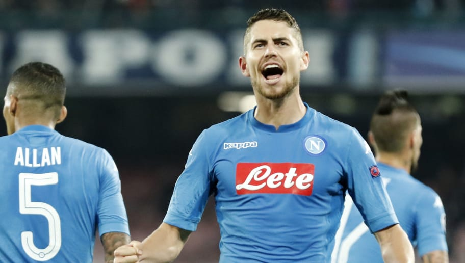 Napoli's midfielder from Brazil Jorginho celebrates after scoring during the UEFA Champions League football match Napoli vs Manchester City on November 1, 2017 at the San Paolo stadium in Naples.  / AFP PHOTO / Filippo MONTEFORTE        (Photo credit should read FILIPPO MONTEFORTE/AFP/Getty Images)