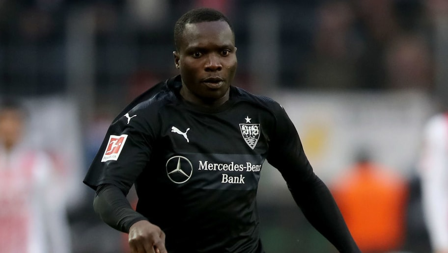 COLOGNE, GERMANY - MARCH 04: Chadrac Akolo of Stuttgart runs with the ball during the Bundesliga match between 1. FC Koeln and VfB Stuttgart at RheinEnergieStadion on March 4, 2018 in Cologne, Germany. The match between Koeln and Stuttgart ended 2-3. (Photo by Christof Koepsel/Bongarts/Getty Images)