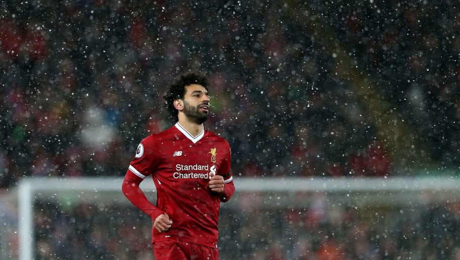 LIVERPOOL, ENGLAND - MARCH 17:  Mohamed Salah of Liverpool looks on during the Premier League match between Liverpool and Watford at Anfield on March 17, 2018 in Liverpool, England.  (Photo by Jan Kruger/Getty Images)