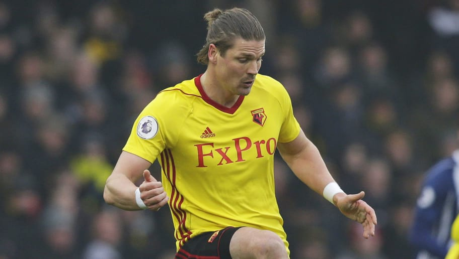 WATFORD, ENGLAND - MARCH 03: Sebastian Prodl of Watford during the Premier League match between Watford and West Bromwich Albion at Vicarage Road on March 3, 2018 in Watford, England. (Photo by Henry Browne/Getty Images) *** Local Caption ***Sebastian Prodl