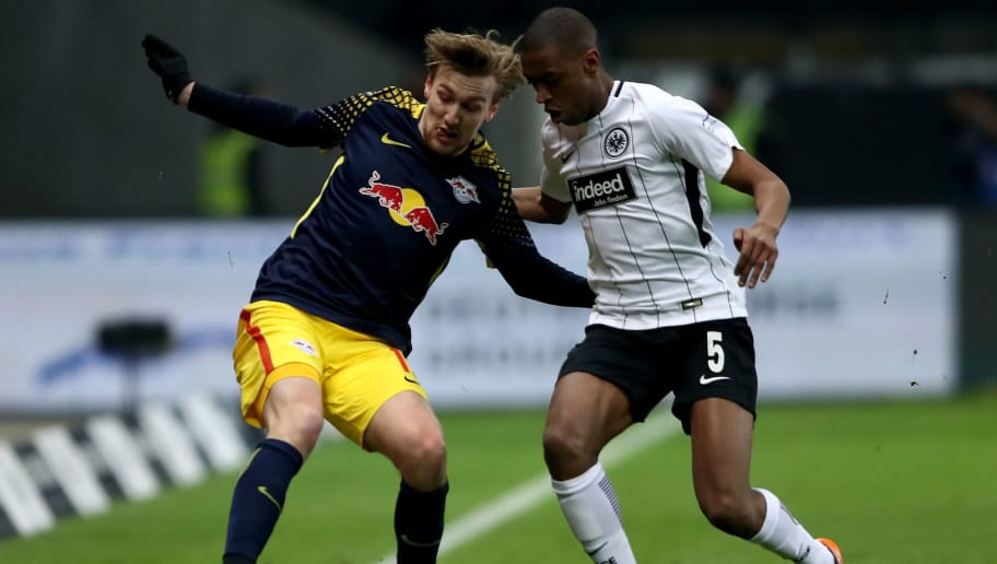 FRANKFURT AM MAIN, GERMANY - FEBRUARY 19: Gelson Fernandes (R) of Frankfurt and Emil Forsberg of Leipzig battle for the ball during the Bundesliga match between Eintracht Frankfurt and RB Leipzig at Commerzbank-Arena on February 19, 2018 in Frankfurt am Main, Germany.  (Photo by Alex Grimm/Bongarts/Getty Images)