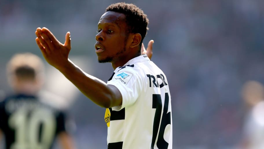 MOENCHENGLADBACH, GERMANY - MAY 06:  Ibrahima Traore of Moenchengladbach looks dejected during the Bundesliga match between Borussia Moenchengladbach and FC Augsburg at Borussia-Park on May 6, 2017 in Moenchengladbach, Germany.  (Photo by Christof Koepsel/Bongarts/Getty Images)
