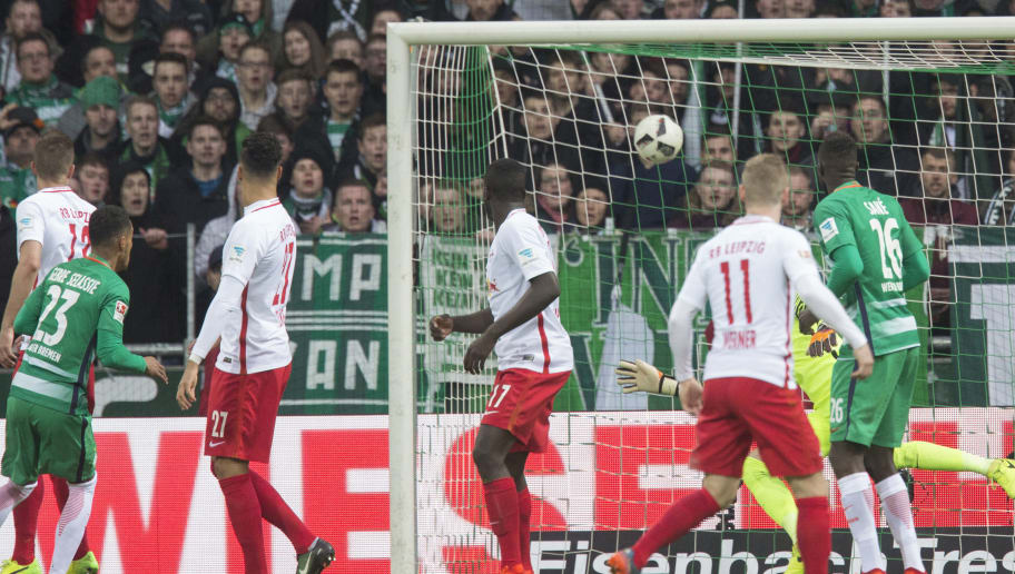 (From L) Bremen's Czech defender Theodor Gebre Selassie, Leipzig's forward Davie Selke, Leipzigs defender Dayot Upamecano, Leipzig's forward Timo Werner, Bremen's Senegalese defender Lamine Sane watch as Bremen scored its second goal during the German First division Bundesliga football match Werder Bremen vs RB Leipzig in Bremen, northern Germany, on March 18, 2017. / AFP PHOTO / JOERG SARBACH / RESTRICTIONS: DURING MATCH TIME: DFL RULES TO LIMIT THE ONLINE USAGE TO 15 PICTURES PER MATCH AND FORBID IMAGE SEQUENCES TO SIMULATE VIDEO. == RESTRICTED TO EDITORIAL USE == FOR FURTHER QUERIES PLEASE CONTACT DFL DIRECTLY AT + 49 69 650050         (Photo credit should read JOERG SARBACH/AFP/Getty Images)