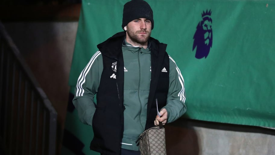 LONDON, ENGLAND - MARCH 05:  Luke Shaw of Manchester United arrives for the Premier League match between Crystal Palace and Manchester United at Selhurst Park on March 5, 2018 in London, England.  (Photo by Catherine Ivill/Getty Images)