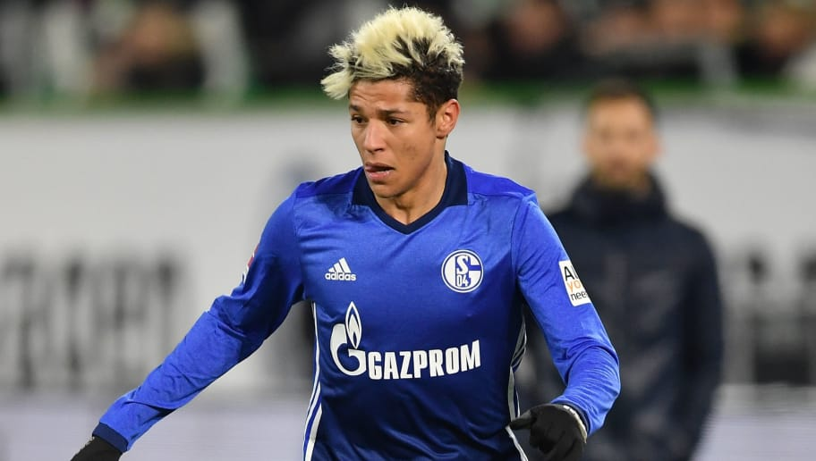 WOLFSBURG, GERMANY - MARCH 17:  Amine Harit of Schalke in action during the Bundesliga match between VfL Wolfsburg and FC Schalke 04 at Volkswagen Arena on March 17, 2018 in Wolfsburg, Germany.  (Photo by Stuart Franklin/Bongarts/Getty Images)
