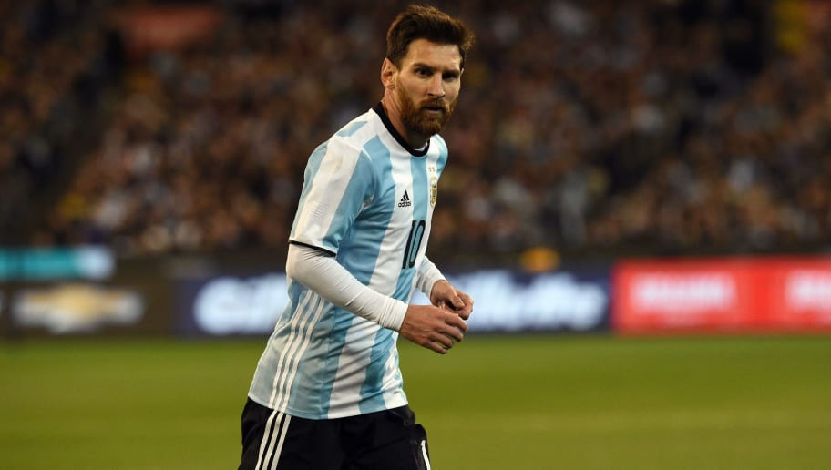 Argentina's Lionel Messi runs during the friendly international football match between Brazil and Argentina at the MCG in Melbourne on June 9, 2017. / AFP PHOTO / SAEED KHAN / IMAGE RESTRICTED TO EDITORIAL USE - STRICTLY NO COMMERCIAL USE        (Photo credit should read SAEED KHAN/AFP/Getty Images)
