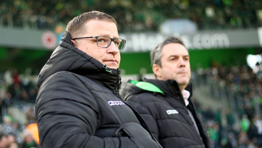 MOENCHENGLADBACH, GERMANY - FEBRUARY 18: Manager Max Eberl of Moenchengladbach looks on prior to the Bundesliga match between Borussia Moenchengladbach and Borussia Dortmund at Borussia-Park on February 18, 2018 in Moenchengladbach, Germany. (Photo by Christof Koepsel/Bongarts/Getty Images)
