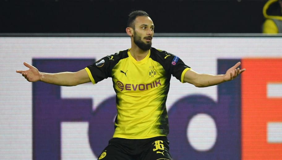 DORTMUND, GERMANY - MARCH 08:  Omer Toprak of Borussia Dortmund reacts during the UEFA Europa League Round of 16 match between Borussia Dortmund and FC Red Bull Salzburg at the Signal Iduna Park on March 8, 2018 in Dortmund, Germany.  (Photo by Stuart Franklin/Bongarts/Getty Images)