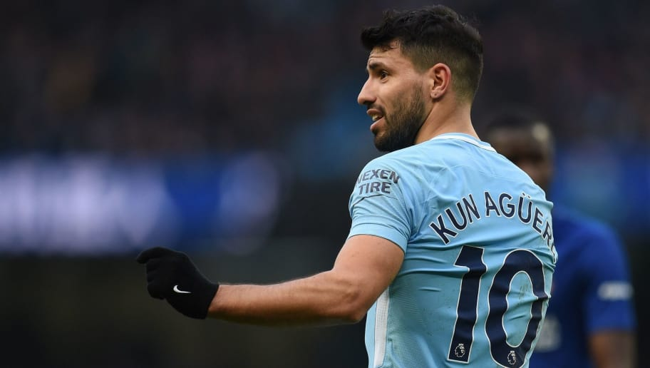 Manchester City's Argentinian striker Sergio Aguero reacts during the English Premier League football match between Manchester City and Chelsea at the Etihad Stadium in Manchester, north west England on March 4, 2018. / AFP PHOTO / Oli SCARFF / RESTRICTED TO EDITORIAL USE. No use with unauthorized audio, video, data, fixture lists, club/league logos or 'live' services. Online in-match use limited to 75 images, no video emulation. No use in betting, games or single club/league/player publications.  /         (Photo credit should read OLI SCARFF/AFP/Getty Images)