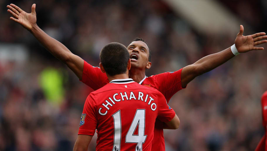 MANCHESTER, ENGLAND - AUGUST 28:  Nani of Manchester United celebrates after scoring his side's fifth goal with team mate Javier Hernandez during the Barclays Premier League match between Manchester United and Arsenal at Old Trafford on August 28, 2011 in Manchester, England.  (Photo by Alex Livesey/Getty Images)