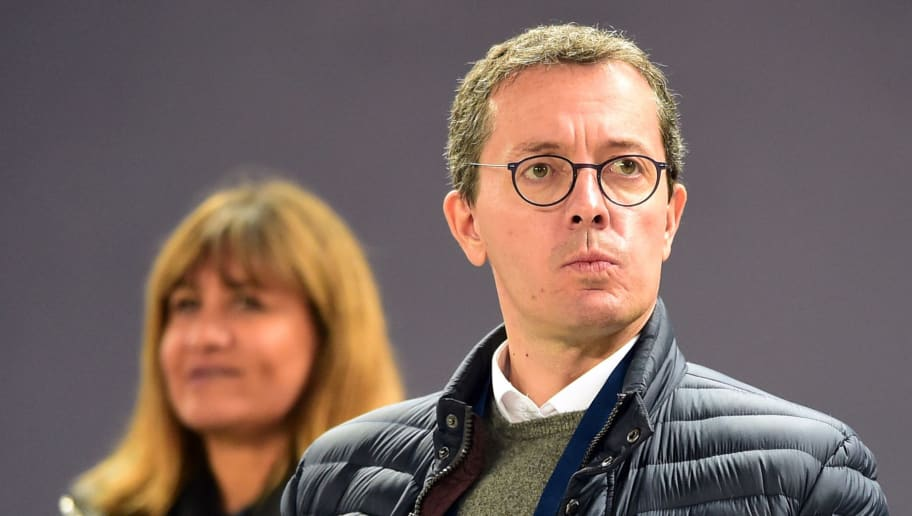 Olympique de Marseille French president Jacques-Henri Eyraud looks on  prior to the French L1 football match between Bordeaux and Marseille on November 19, 2017 at the Matmut Atlantique stadium in Bordeaux, southwestern France.  / AFP PHOTO / NICOLAS TUCAT        (Photo credit should read NICOLAS TUCAT/AFP/Getty Images)