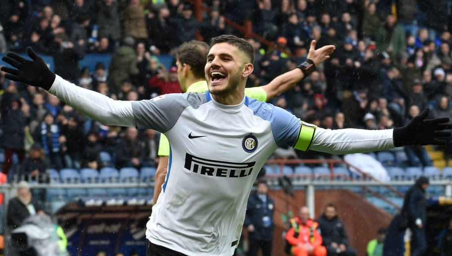 GENOA, GE - MARCH 18:  Mauro Icardi of Inter celebrate after his goal 3-0 during the serie A match between UC Sampdoria and FC Internazionale at Stadio Luigi Ferraris on March 18, 2018 in Genoa, Italy.  (Photo by Paolo Rattini/Getty Images)