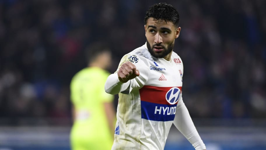 Lyon's French forward Nabil Fekir (R) celebrates after scoring a goal during the French L1 football match between Lyon (OL) and Angers (ASCO) on January 14, 2018, in Decines-Charpieu near Lyon, central-eastern France.  / AFP PHOTO / ROMAIN LAFABREGUE        (Photo credit should read ROMAIN LAFABREGUE/AFP/Getty Images)