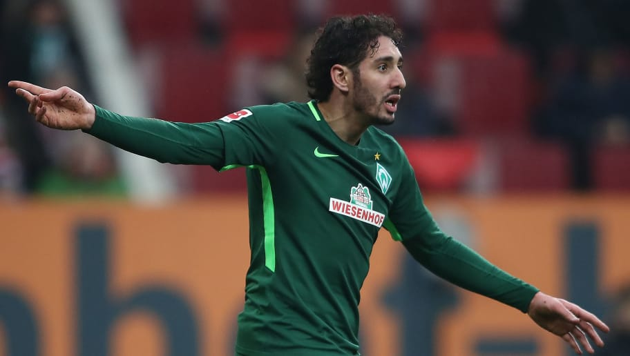 AUGSBURG, GERMANY - MARCH 17: Ishak Belfodil of Bremen gestures during the Bundesliga match between FC Augsburg and SV Werder Bremen at WWK-Arena on March 17, 2018 in Augsburg, Germany. (Photo by Alex Grimm/Bongarts/Getty Images)
