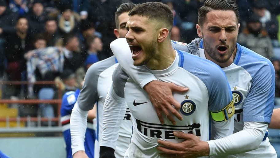 GENOA, ITALY - MARCH 18:  Mauro Icardi of Inter celebrate after penaltyduring the serie A match between UC Sampdoria and FC Internazionale at Stadio Luigi Ferraris on March 18, 2018 in Genoa, Italy.  (Photo by Paolo Rattini/Getty Images)