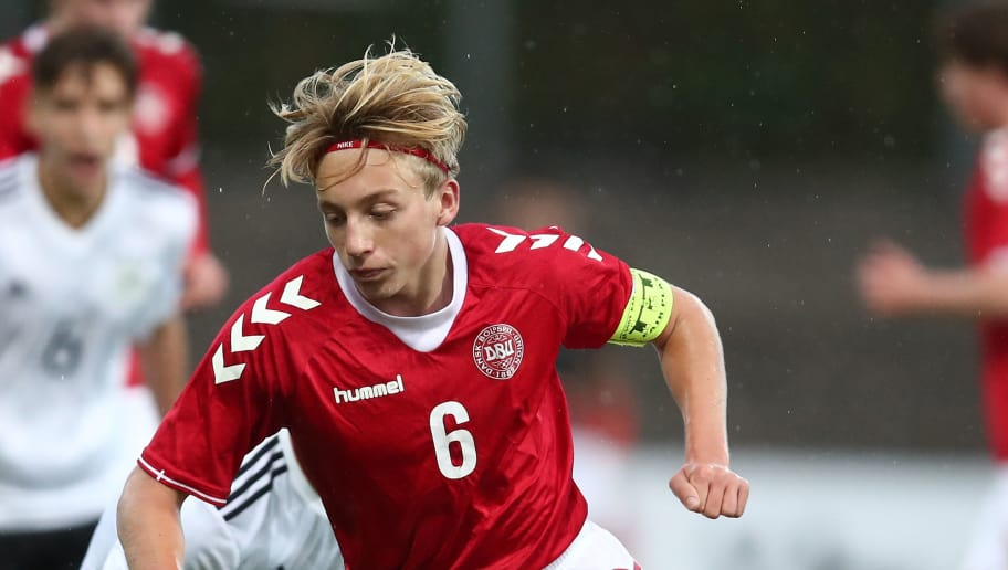 HADERSLEV, DENMARK - OCTOBER 05:  Mads Bidstrup of Denmark in action during the Mens U17 international friendly match between Denmark and Germany at Sydbank Park Stadion on October 5, 2017 in Haderslev, Denmark.  (Photo by Oliver Hardt/Bongarts/Getty Images)
