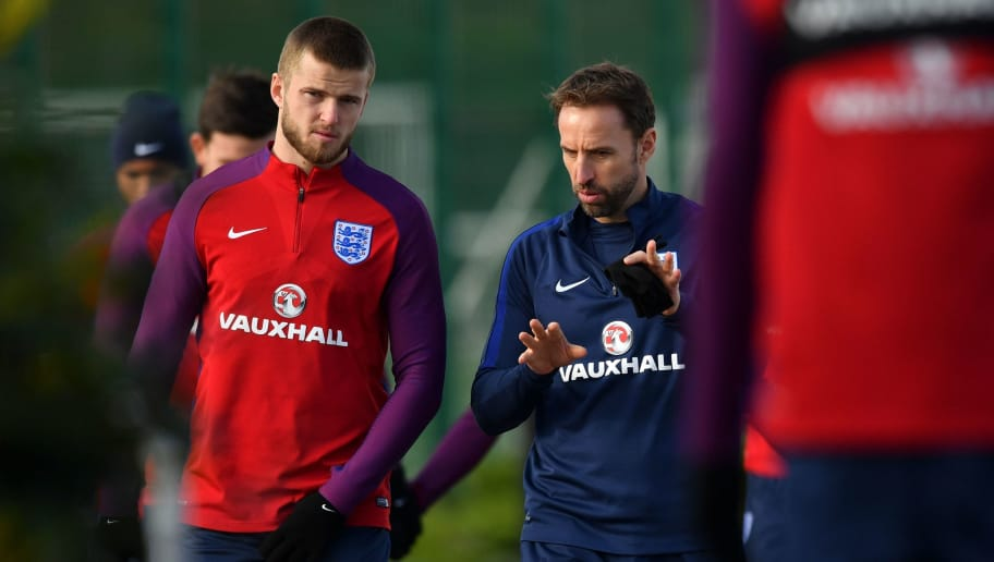 England's manager Gareth Southgate (2L) talks with England's midfielder Eric Dier (L) as they take part in an England national football team training session at Tottenham Hotspur FC Training Ground in Enfield, north London, on November 13, 2017 ahead of their international friendly match against Brazil on November 14.  / AFP PHOTO / Ben STANSALL / NOT FOR MARKETING OR ADVERTISING USE / RESTRICTED TO EDITORIAL USE         (Photo credit should read BEN STANSALL/AFP/Getty Images)
