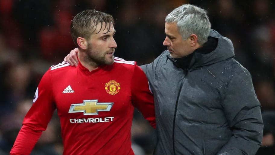 MANCHESTER, ENGLAND - DECEMBER 13: Luke Shaw of Manchester United and Jose Mourinho, Manager of Manchester United speak after the Premier League match between Manchester United and AFC Bournemouth at Old Trafford on December 13, 2017 in Manchester, England.  (Photo by Catherine Ivill/Getty Images)