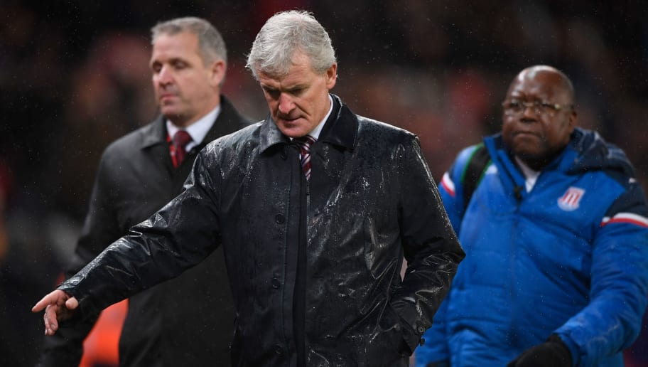 STOKE ON TRENT, ENGLAND - JANUARY 01: Mark Hughes, Manager of Stoke City looks dejected after the Premier League match between Stoke City and Newcastle United at Bet365 Stadium on January 1, 2018 in Stoke on Trent, England.  (Photo by Stu Forster/Getty Images)