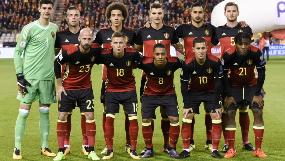 Belgium's national football team players pose for a picture prior to the FIFA World Cup 2018 qualification football match between Belgium and Cyprus, at the King Baudouin Stadium, on October 10, 2017 in Brussels. / AFP PHOTO / JOHN THYS        (Photo credit should read JOHN THYS/AFP/Getty Images)