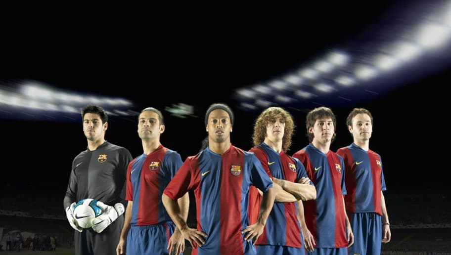 STUTTGART, GERMANY - JUNE 21: In this photo-montage handout image provided by Nike, (L-R) Victor Valdes, Rafael Marquez, Ronaldinho, Carles Puyol, Lionel Messi and Andres Iniesta of FC Barcelona reveal the new home kit for the 2005/06 season on June 21, 2006 in Frankfurt, Germany. (Photo by Nike via Getty Images)
