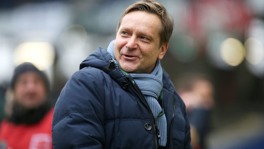 HANOVER, GERMANY - FEBRUARY 10: Horst Heldt, sports director of Hannover 96 looks on prior to the Bundesliga match between Hannover 96 and Sport-Club Freiburg at HDI-Arena on February 10, 2018 in Hanover, Germany. (Photo by Selim Sudheimer/Bongarts/Getty Images)