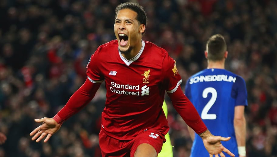 LIVERPOOL, ENGLAND - JANUARY 05:  Virgil van Dijk of Liverpool celebrates as he scores their second goal during the Emirates FA Cup Third Round match between Liverpool and Everton at Anfield on January 5, 2018 in Liverpool, England.  (Photo by Clive Brunskill/Getty Images)