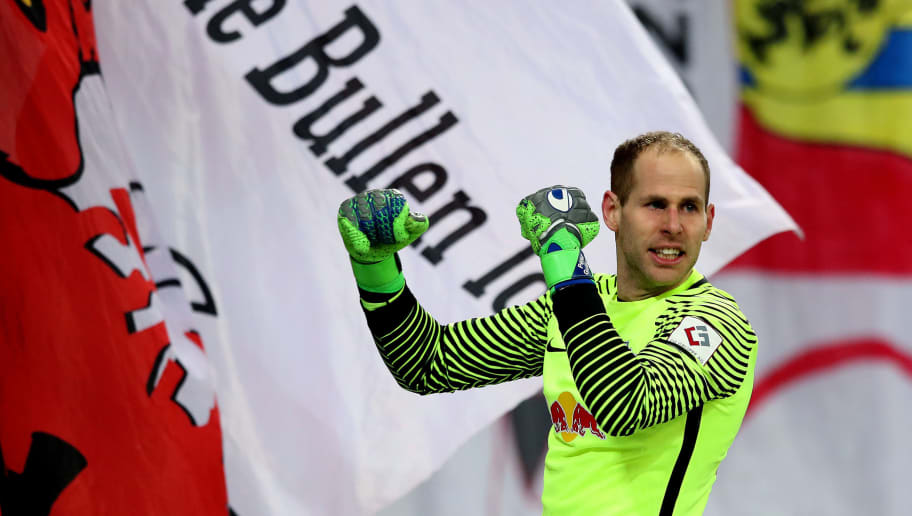 LEIPZIG, GERMANY - MARCH 18: Goalkeeper Peter Gulacsi of RB Leipzig celebrates after the Bundesliga match between RB Leipzig and FC Bayern Muenchen at Red Bull Arena on March 18, 2018 in Leipzig, Germany. (Photo by Ronny Hartmann/Bongarts/Getty Images)