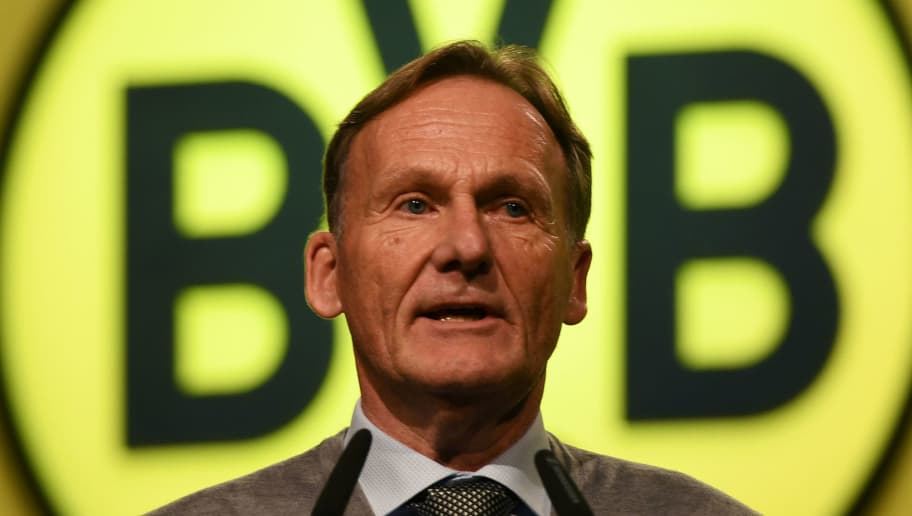Hans-Joachim Watzke, manager of German first division Bundesliga football club Borussia Dortmund, gives a speech during the club's annual general meeting in Dortmund, western Germany, on November 26, 2017.  / AFP PHOTO / Patrik STOLLARZ        (Photo credit should read PATRIK STOLLARZ/AFP/Getty Images)