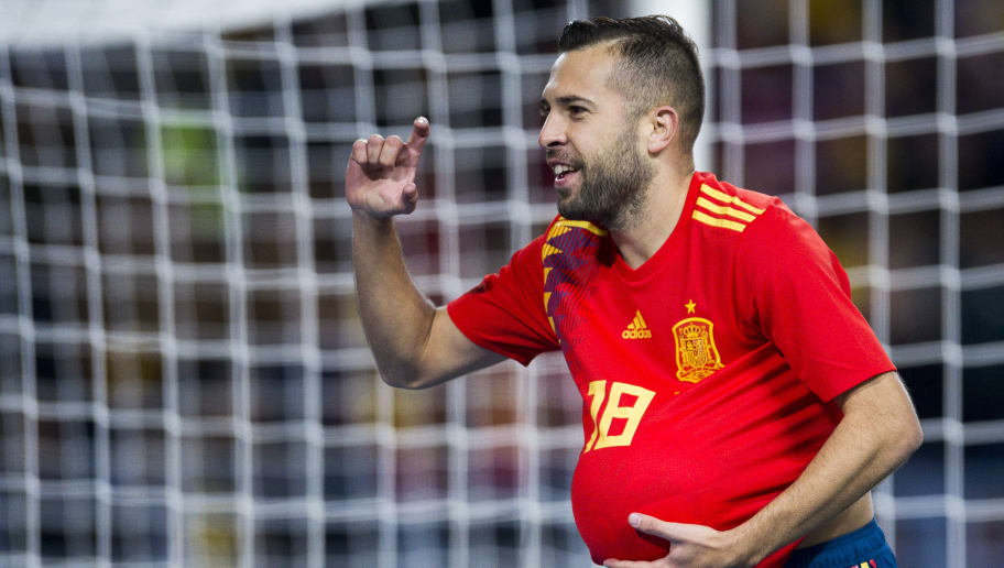 MALAGA, SPAIN - NOVEMBER 11:  Jordi Alba of Spain celebrates after scoring goal during the international friendly match between Spain and Costa Rica at La Rosaleda Stadium on November 11, 2017 in Malaga, Spain.  (Photo by Aitor Alcalde/Getty Images)