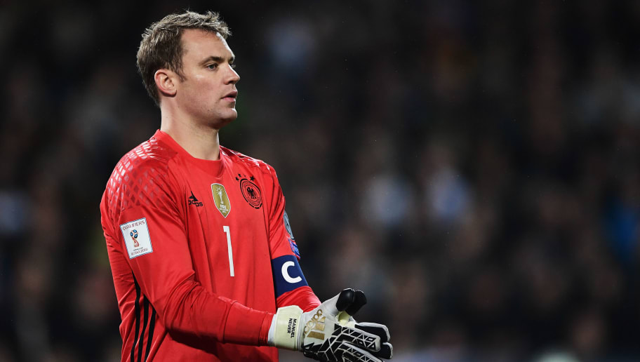 HANOVER, GERMANY - OCTOBER 11:  Manuel Neuer of Germany in action during the FIFA 2018 World Cup Qualifier between Germany and Northern Ireland at HDI-Arena on October 11, 2016 in Hanover, Lower Saxony.  (Photo by Stuart Franklin/Bongarts/Getty Images)