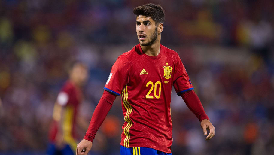 ALICANTE, SPAIN - OCTOBER 06: Marco Asensio of Spain looks on during the FIFA 2018 World Cup Qualifier between Spain and Albania at Estadio Jose Rico Perez on October 6, 2017 in Alicante, Spain. (Photo by Denis Doyle/Getty Images)