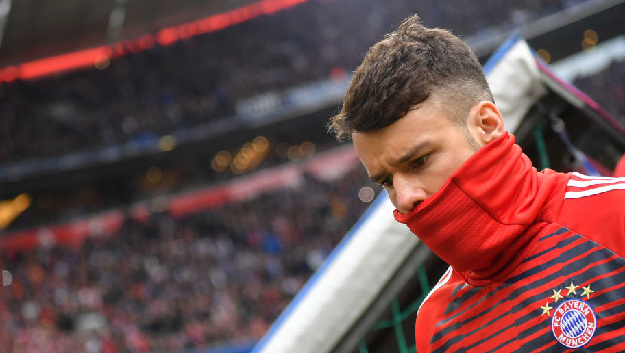 MUNICH, GERMANY - MARCH 10: Juan Bernat of Bayern Muenchen looks down prior to the Bundesliga match between FC Bayern Muenchen and Hamburger SV at Allianz Arena on March 10, 2018 in Munich, Germany. (Photo by Sebastian Widmann/Bongarts/Getty Images)