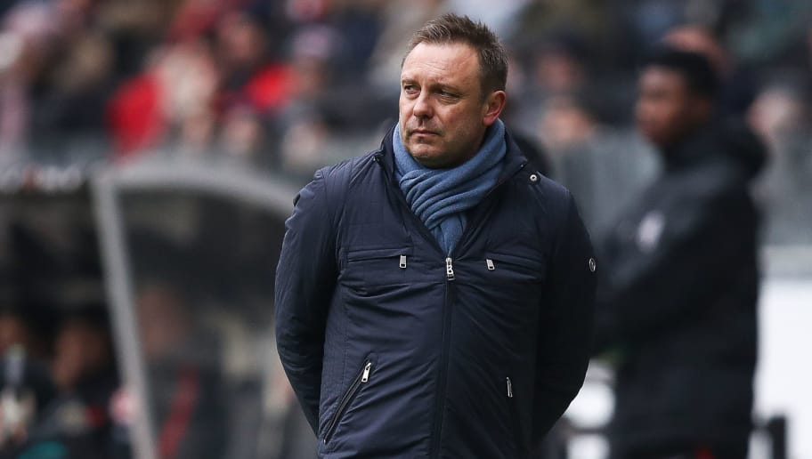 FRANKFURT AM MAIN, GERMANY - MARCH 03: Andre Breitenreiter Head Coach of Hannover 96 reacts during the Bundesliga match between Eintracht Frankfurt and Hannover 96 at Commerzbank-Arena on March 3, 2018 in Frankfurt am Main, Germany. (Photo by Maja Hitij/Bongarts/Getty Images)