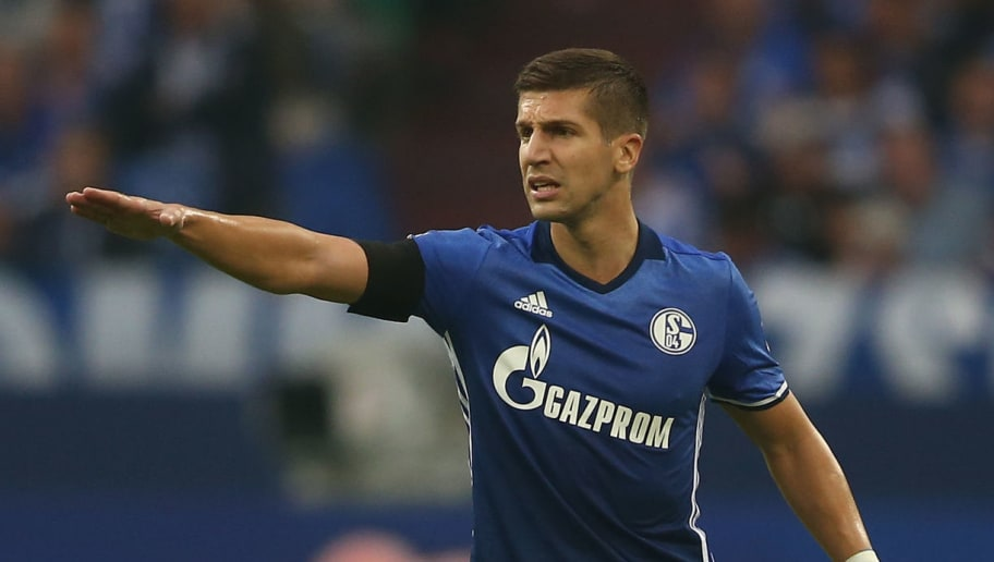 GELSENKIRCHEN, GERMANY - AUGUST 19: Matija Nastasic of Schalke issues instructions during the Bundesliga match between FC Schalke 04 and RB Leipzig at Veltins-Arena on August 19, 2017 in Gelsenkirchen, Germany.  (Photo by Christof Koepsel/Bongarts/Getty Images)