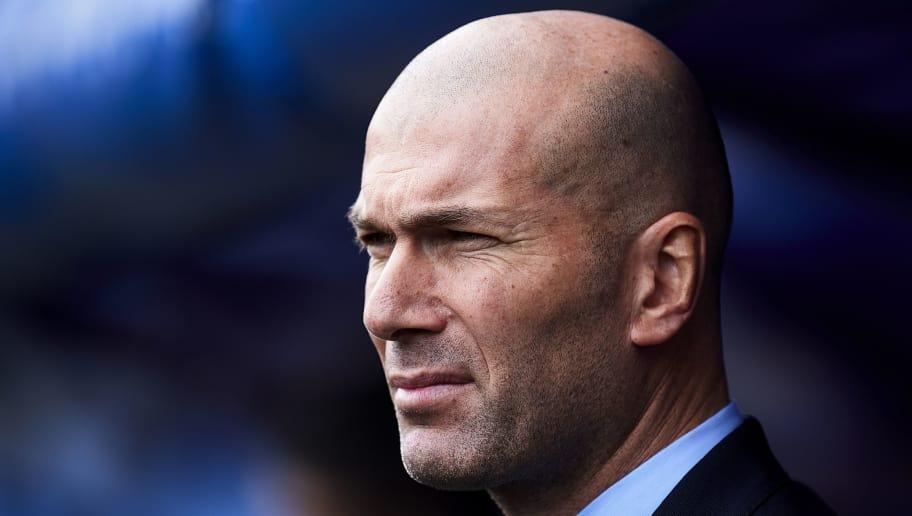 EIBAR, SPAIN - MARCH 10:  Head coach  Zinedine Zidane of Real Madrid reacts during the La Liga match between SD Eibar and Real Madrid at Ipurua Municipal Stadium on March 10, 2018 in Eibar, Spain .  (Photo by Juan Manuel Serrano Arce/Getty Images)