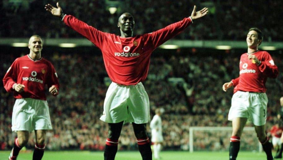 5 Sep 2000: Andy Cole of United celebrates scoring during the match between Manchester United and Bradford City in the FA Carling Premiership at Old Trafford, Manchester. Mandatory Credit: Shaun Botterill/ALLSPORT