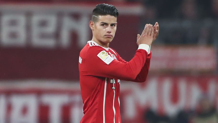 MUNICH, GERMANY - FEBRUARY 10: James Rodriguez of Muenchen reacts before being substituted during the Bundesliga match between FC Bayern Muenchen and FC Schalke 04 at Allianz Arena on February 10, 2018 in Munich, Germany.  (Photo by Alex Grimm/Bongarts/Getty Images)